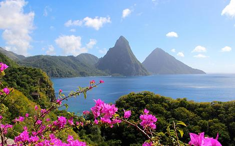 Volcanic Scenery at Saint Lucia, The Pitons.