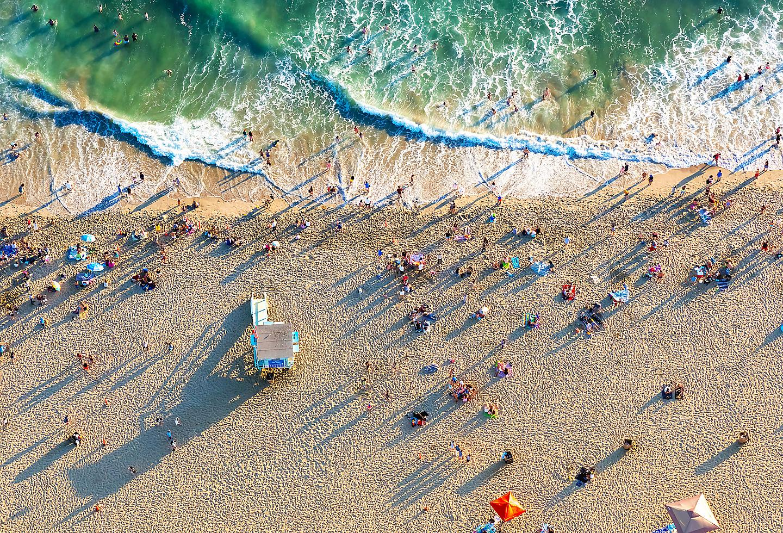Aerial View of Santa Monica Beach