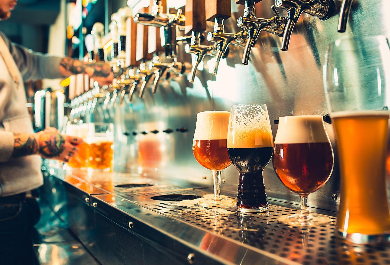 Bartender Pouring Beer at Golden Road Brewing