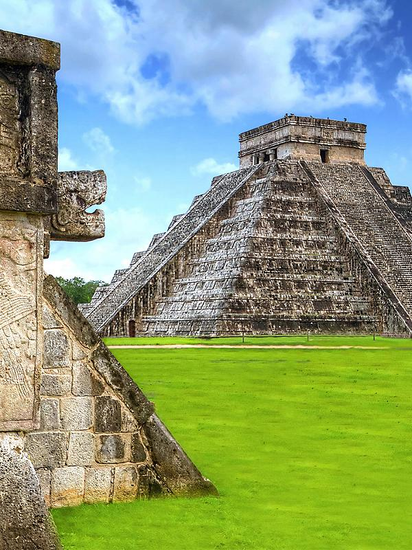 Kukulkan Pyramid at Chichen Itza Ruins in Mexico