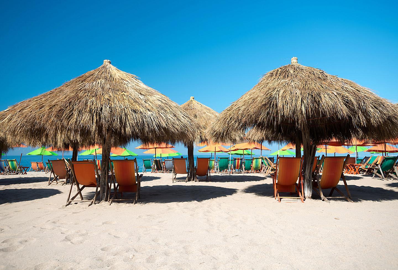 Puerto Vallarta Beach Tiki Umbrellas