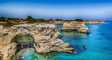 Rocky stacks of Santo Andrea on the coast of Salento in Puglia in Italy