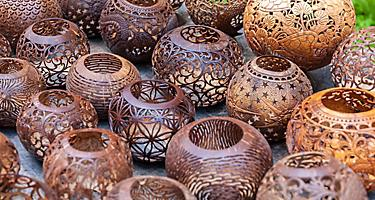 Bintan Island Indonesia Coconut Shell Vases Local Shopping