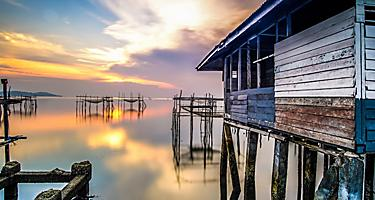 Bintan Island Indonesia Fishing Village at Sunset