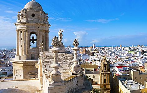 Spain Cadiz Bell Tower Cathedral Aerial
