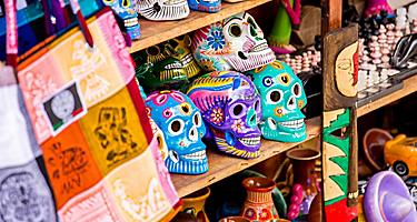 Mexico Ensenada Colorful Skulls Souvenirs Playa Del Carmen