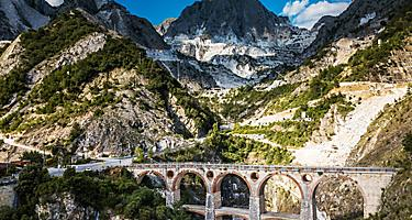 Colonnata village and Carrara mountains. Massa-Carrara Tuscany Italy