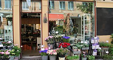 Flower shop in the Haga district of Gothenburg, Sweden.