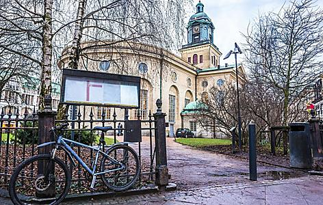 Bicycle near church, Gothenburg, Sweden