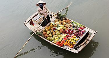 Woman Selling Fruit in Halong Bay