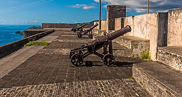 A view along the ramparts of Fort Charlotte, Kingstown. Saint Vincent.