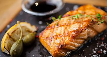 Grilled Scottish Salmon with Soy Sauce, Kirkwall, Scotland