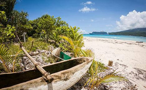 Vanuatu Mystery Island Beach Boat with Royal Cruise Ship in the Background