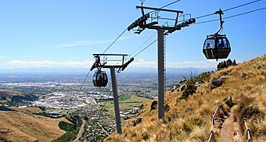 New Zealand Christchurch Cableway Overlooking Mountains