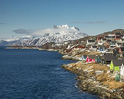 A coastal view of Nuuk, Greenland