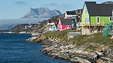 Colorful houses on the coast of Nuuk, Greenland