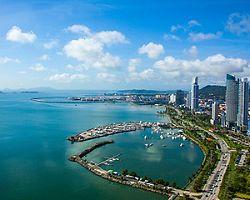 An aerial view of the coast of Panama City, Panama