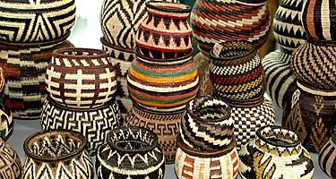 An assortment of embera baskets in Panama