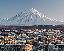 Russia Petropavlovsk Kamchatsky City Scape Volcano Sunrise