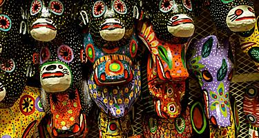 Handmade masks from Nicaragua on sell at artisan marketplace