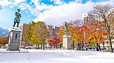 Snow fall at Odori Park in Sapporo, Japan