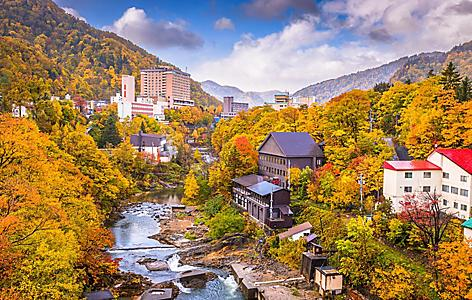 View of Jozankei Onsen in Japan