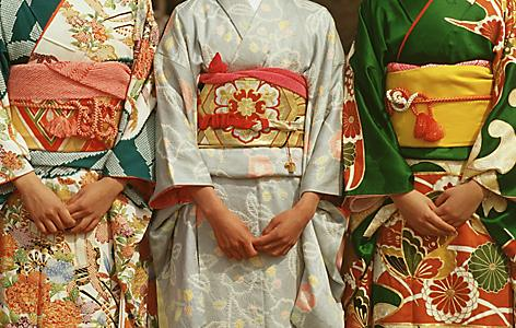 Three Japanese Women in Kimonos