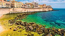 Coast of Ortigia Overlooking Green Waters