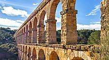 Spain Tarragona Old Stone Aqueduct Arches