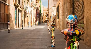 Spain Tarragona Bollards Old Street Artistic Colorful