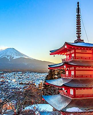 Japan Chureito Red Pagoda Mt. Fuji Fujiyoshida
