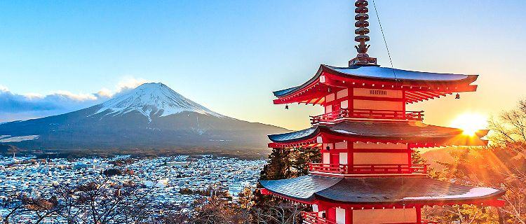 Japan Chureito Red Pagoda Mt. Fuji Fujiyoshida