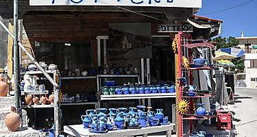 Small traditional pottery souvenir shop in Zakynthos island, greece.