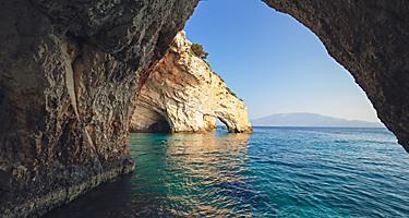 Agios Nikolaos blue caves in Zakynthos (Zante) island, in Greece