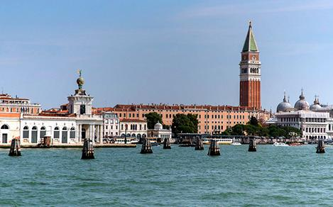 View of Saint Mark's Square in Venice, from the water. Best guided tour of Italy from a cruise ship Royal Caribbean.