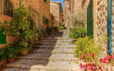 Old brick and stone street in Spain with plants. A Royal Caribbean European cruise excursion experience.