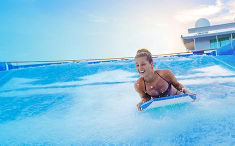 The surf's always up on the 40-foot-long FlowRider® surf simulator. Grab your board and get ready, 30,000 gallons of rushing awesome are headed your way.