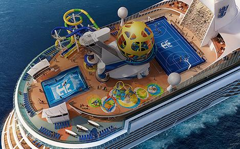 Mariner of the Seas aft with rock climbing, tennis court, flowrider slide, and trampolines for kids and play.