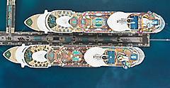 Mariner of the Seas and Navigator of the Seas Docked Aerial