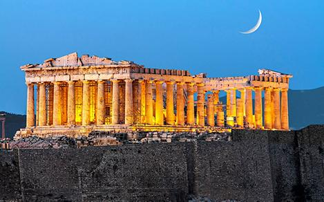 Athens Greece Ruins Night Time