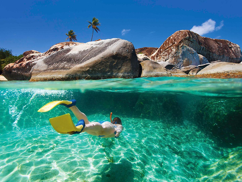 British Island Gorda Baths Woman Snorkeling