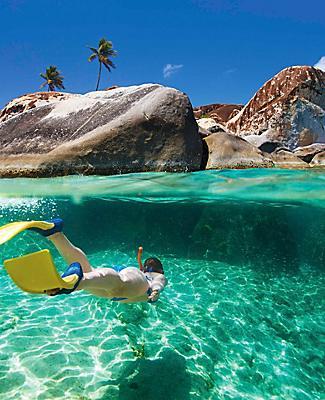 Woman Snorkeling Under Water