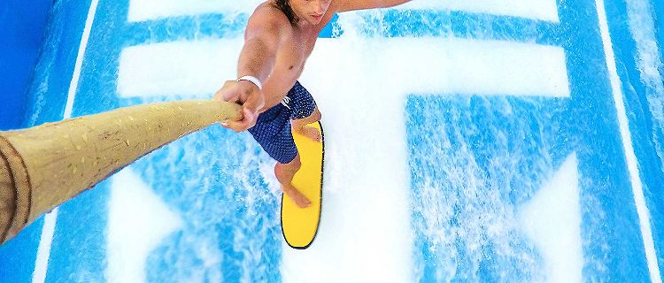 Man Riding Flowrider in Hawaii