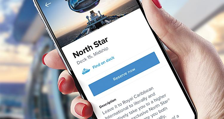 royal caribbean app displaying north star